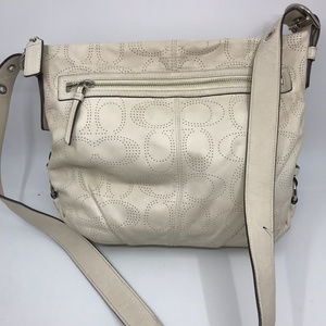 COACH White C Dotted Design Leather Crossbody Bag